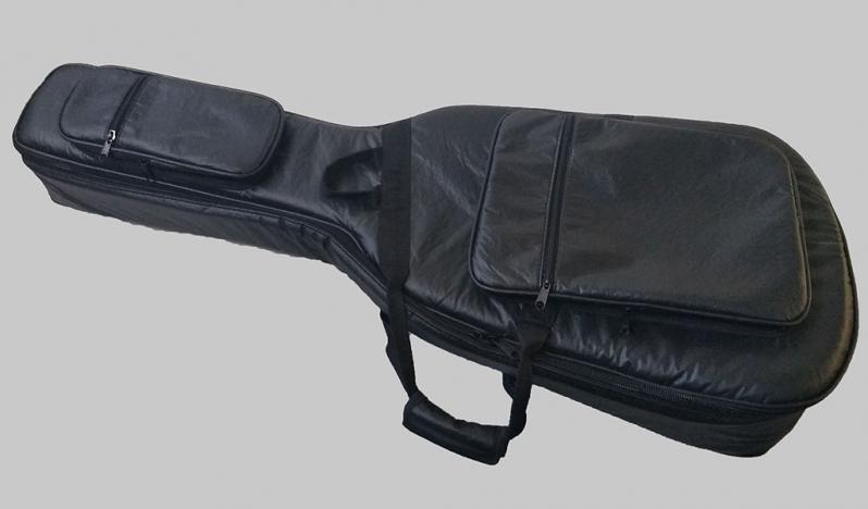 Capas Violão Jumbo de Couro Ecológico Juquiratiba - Capa para Violão Folk